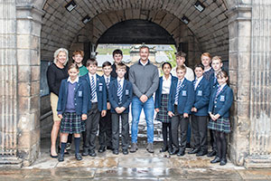 George Heriot pupils with mental health advocate Fergus Crawley