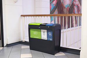 Glason recycling and waste bin in a school