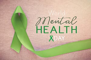 World Mental Health Day green ribbon