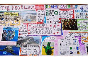 Climate change information board by a pupil