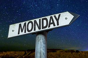 'Monday this way' sign - suffering from Sunday night fear